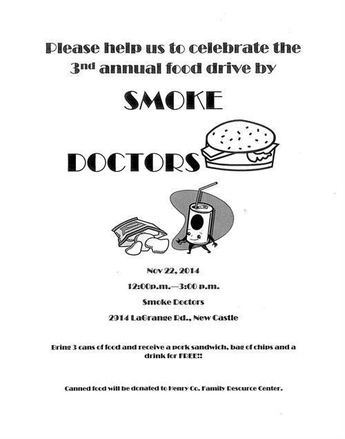3rd Annual Food Drive by Smoke Doctors