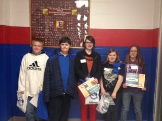 The students pictured are Zachery Wilson, Kendall King, Sharai Smith, Abbi Warren, and Lori Porter.