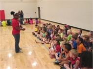 Jasmine Rice, WKU student speaks to NCES primary students about her first year at college.